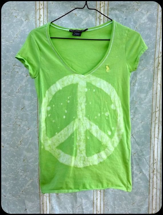 Batik TShirt  Women's Fitted Small  Peace Sign  by GraceAtieno, $22.00