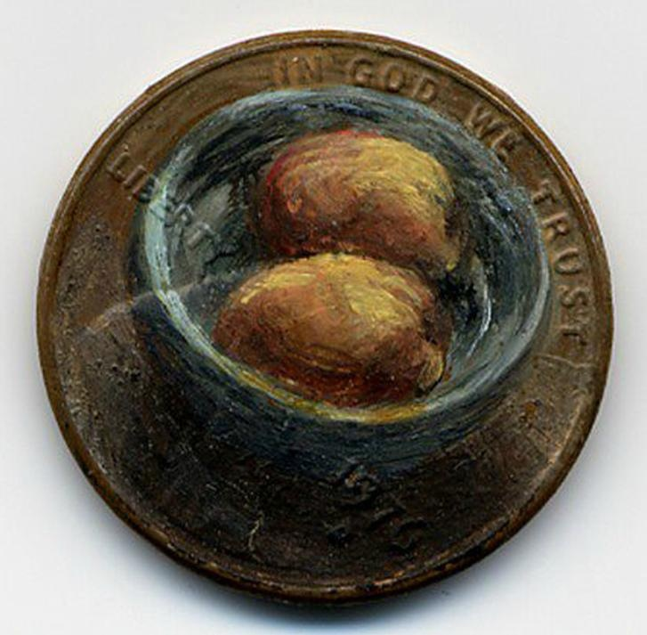 The Still Life, 1976 oil on penny    http://jacquelinelouskaggs.com/section/192725_Tondi_observations.html