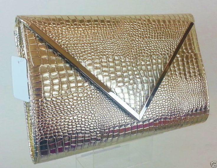 NEW MOCK CROC METALLIC GOLD FAUX LEATHER HARD ENVELOPE CLUTCH BAG
