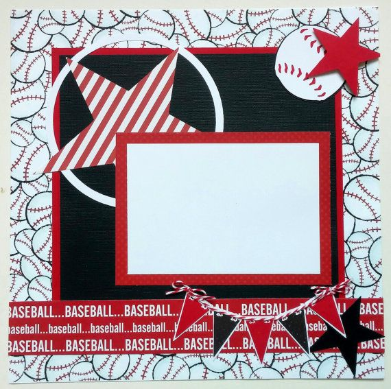 Baseball premade 12x12 scrapbook layout - 12x12 Premade scrapbook pages - Scrapbook page layouts - Premade scrapbook page - Ohioscrapper