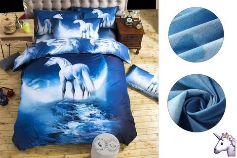 3 PCS Unicorn Double Bedding Set Quilt and 2 Pillows