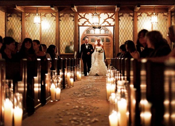 Candle lit church ceremony, so sweet.   www.ellagraph.com