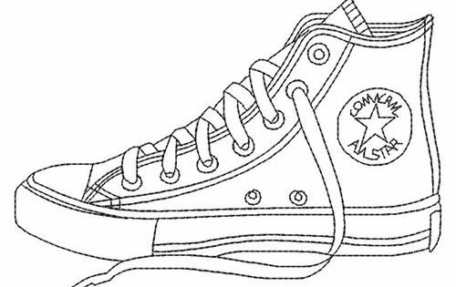Blank Shoe Coloring Pages Sketch Coloring Page Converse Shoe