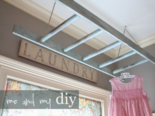 Dry Laundry Add a bit of vintage style to a not-so-fun chore by stringing up a ladder on which to dry clothes or hang freshly pressed garments.