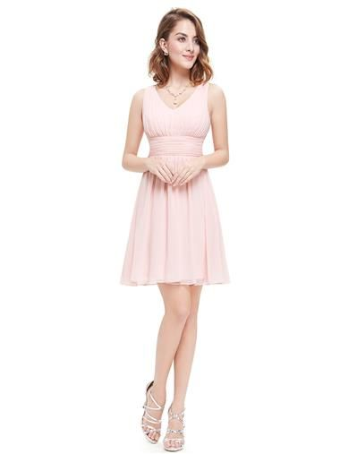 Short Sleeveless Empire Waist Bridesmaid Dress