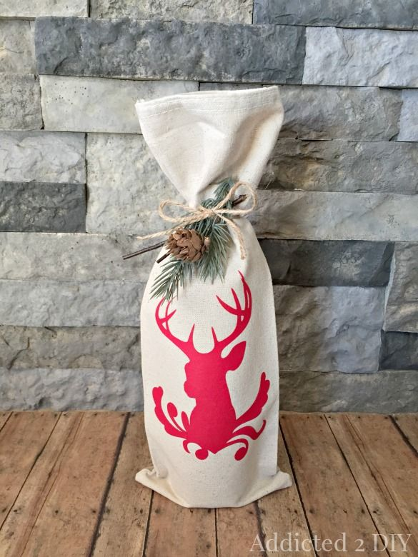 Make these quick and easy DIY wine bags for gifts this season!  If you can sew a straight line, you can make these simple bags in just minutes!