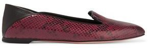 Alexander McQueen Snake-Effect Leather Loafers