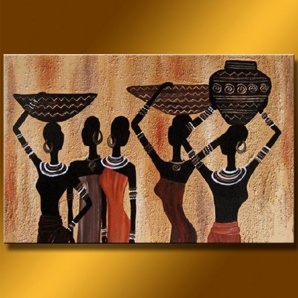 """Abstract African Women"" Oil Painting"