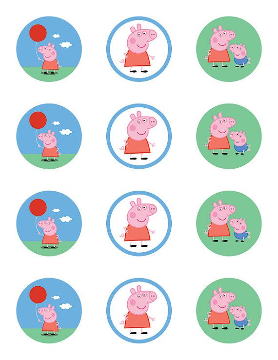 Peppa Pig Birthday Party Cupcake Toppers Stickers 2