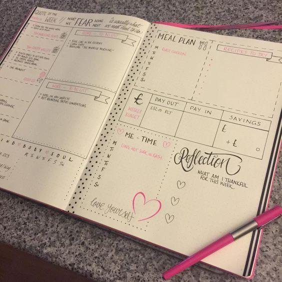 Bullet journal weekly spead                                                                                                                                                      More