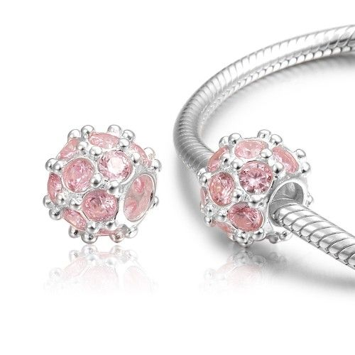 Fall New Arrival Light Pink Round Crystal Charm 925 Sterling Silver Pandora Compatible - Soufeel