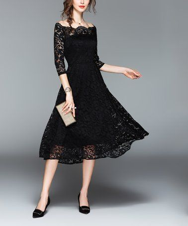This Black Lace Fit   Flare Dress - Women is perfect!  zulilyfinds ... f3a711358