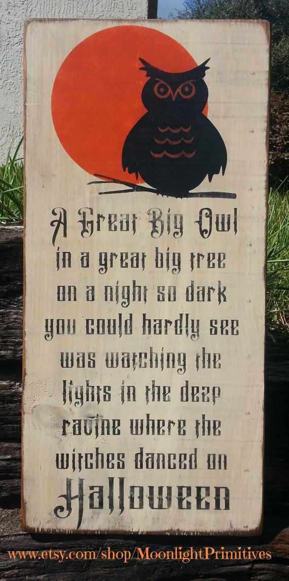 Just got mine and it is fantastic. My husband even likes it! Halloween, Wooden Signs, Owl, Subway Art, Typography, Hand Painted Wooden Signs, Primitive, Distressed