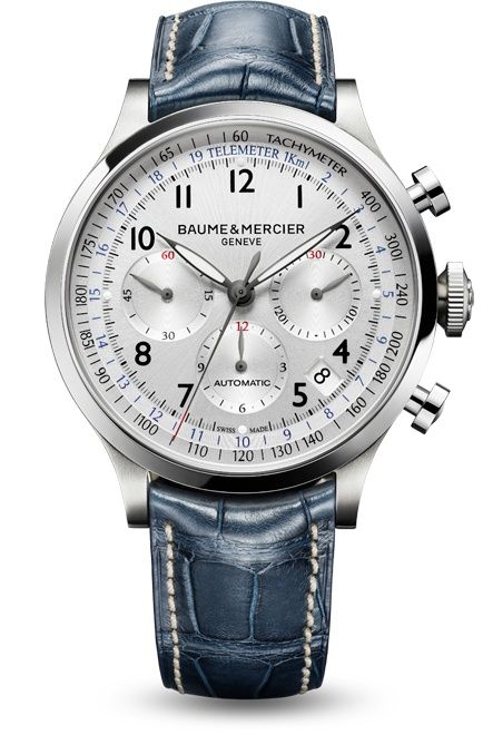 Capeland 10063 automatic chronograph,  silver-colored dial and blue alligator leather strap. Designed by Baume et Mercier, Swiss Watch Maker.
