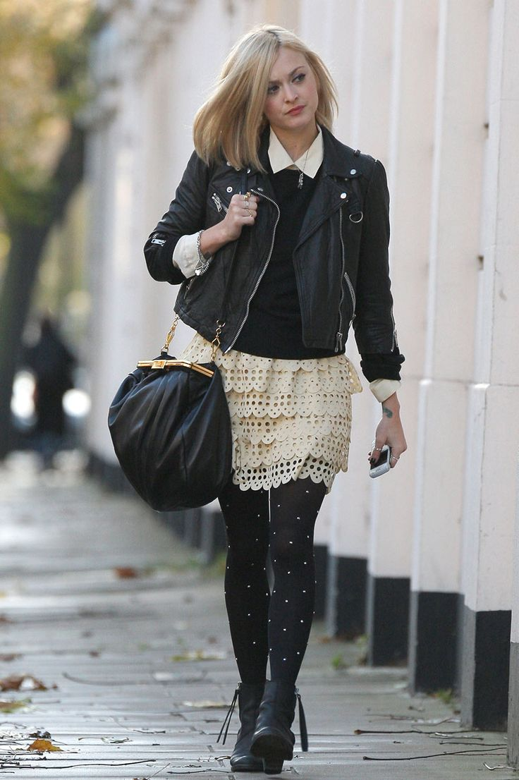 White lace tiered skirt + black jumper over white shirt + black leather jacket + black boots and handbag
