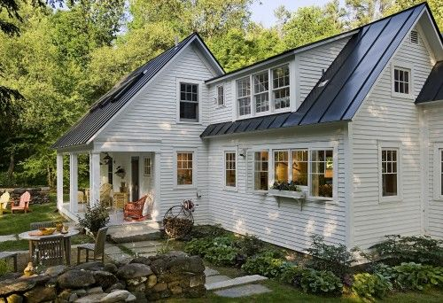 cape cod style house, love it all; roof, covered porch, slate walkway, old rock wall, and kitchen.