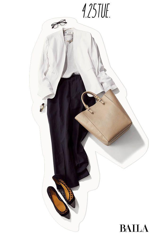いつも元気で明るい先輩は、後輩から好かれるもの。顔の疲れが気になる日は、白トップスでどんよりムードを払拭して。ジャケットがトレンドの今季は、シンプルなホワイトJKを使って、爽やかにコーディネートするのが賢い洗濯。リブニットに合わせれば、固くなりすぎず優しげで女らしいムードになりま・・・