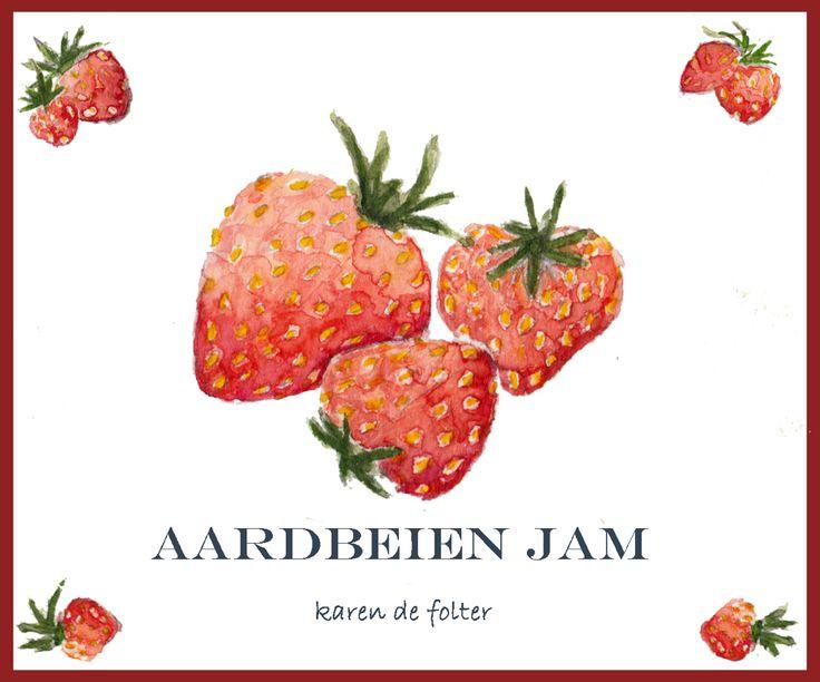 Aquarel gemaakt voor etiketten aardbeienjam
