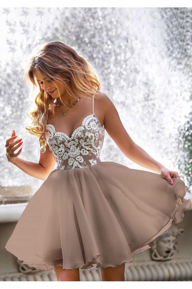 vestidos de baile curtos brancos baratos, vestidos de cintas de espaguete mini vestidos de festa, vestidos de baile curtos com apliques, LV1081 de LaviDress   – Easterseals ball