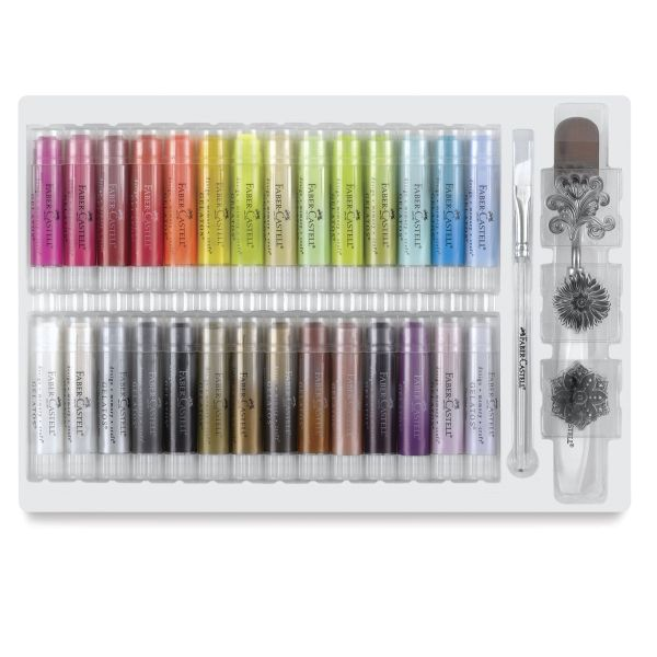 Faber-Castell Gelatos Sets -- Faber-Castell Gelatos Colors are creamy, compact pigment sticks that glide easily onto paper, canvas, wood, and more. Infused with brilliant color, they can be used dry, or dissolved with water to create watercolor effects.