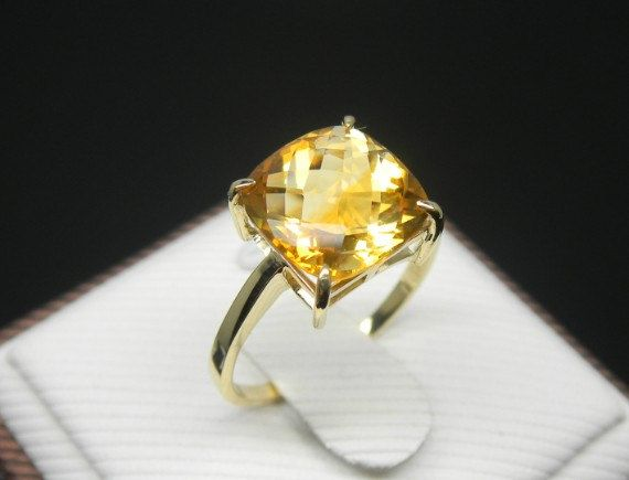 Engagement Ring 3 Carat Citrine Ring With Diamonds In