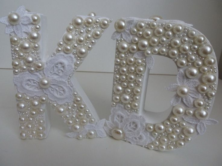 Wooden Letter D Letter K with White pearls lace  by ArtBargainz, $14.99