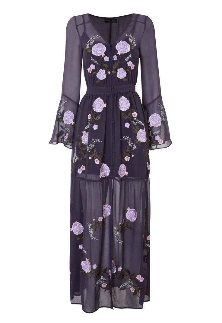 Dark embroidered mesh dress, Dorothy Perkins. High street bridesmaid dresses 2018 #bridesmaids #bridesmaiddress