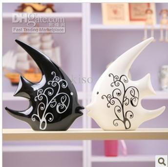 Ceramica Nero E Bianco Coppia Baciare Pesce Home Furnishing Matrimonio Camera Decorazione Ceramica All'ingrosso Da Kiso