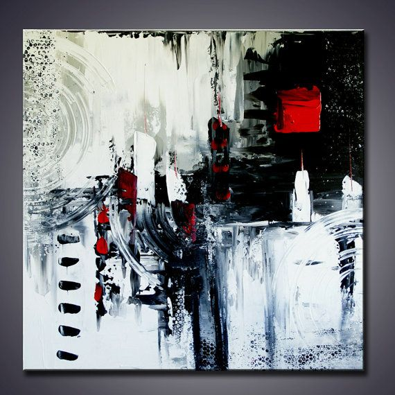 36 x 36 x 1.5 ORIGINAL Modern Abstract Black and White Large Pallete Knife Art Painting Ready to Hang