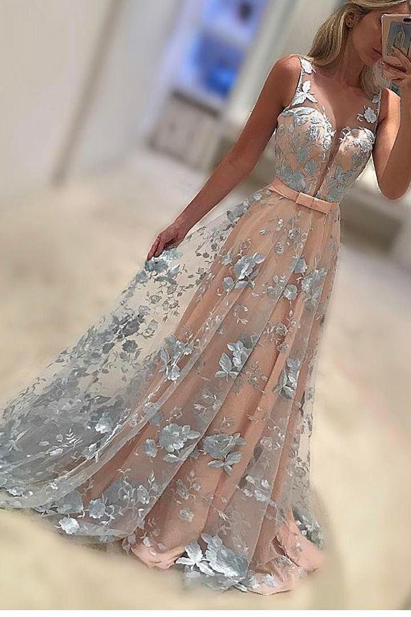 dreamy prom dresses 2017, long prom party dresses, elegant sky blue floral party dresses, cheap deep v-neck prom party dresses.vestidos.@tidetell