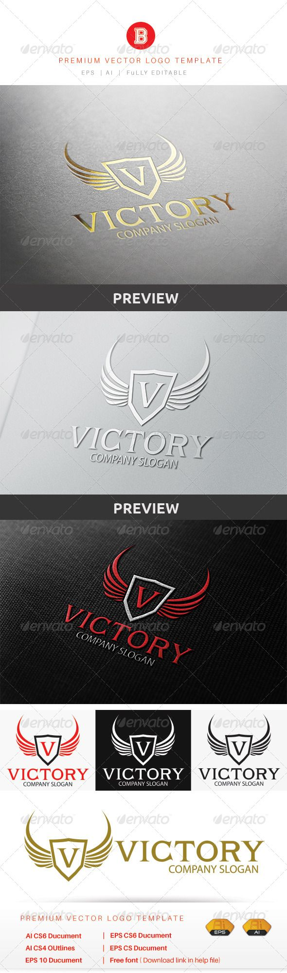 Victory Logo — Vector EPS #gold #fast • Available here → https://graphicriver.net/item/victory-logo/8615556?ref=pxcr