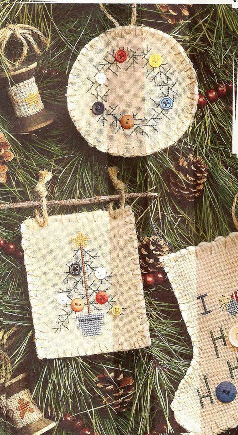 I know its early for Christmas stuff,but if I didn't pin this now,I would never find it again!! I love the way she used twigs to hang the Xstitched ornaments from. This has the patterns too!!