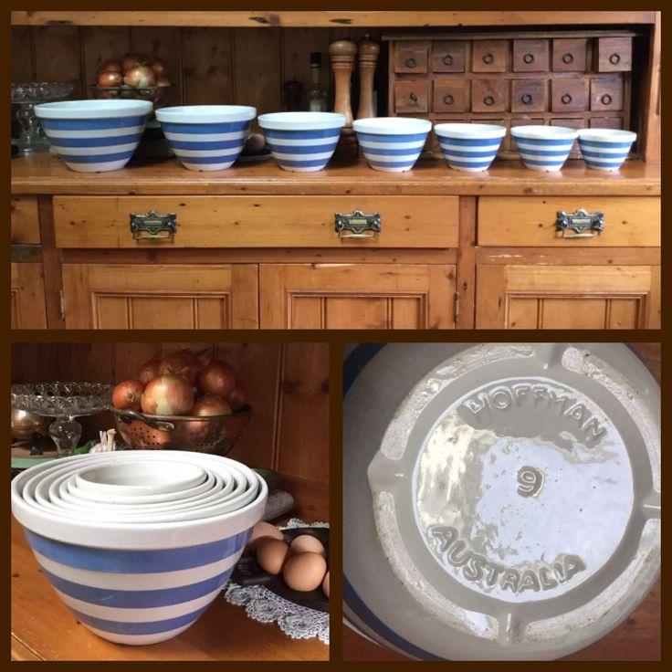 Hoffman Pottery Cornishware inspired full set of Nesting Bowls