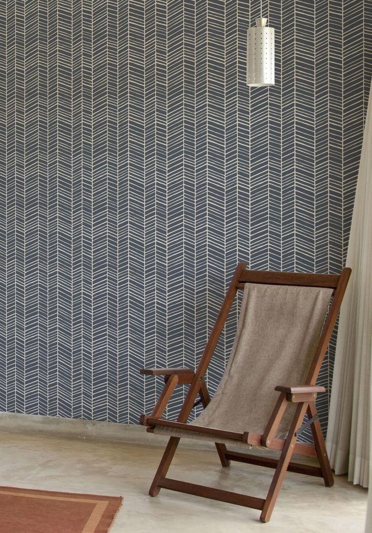 Herringbone Wallpaper - Thunderbolt Blue Image by Joel Dewberry