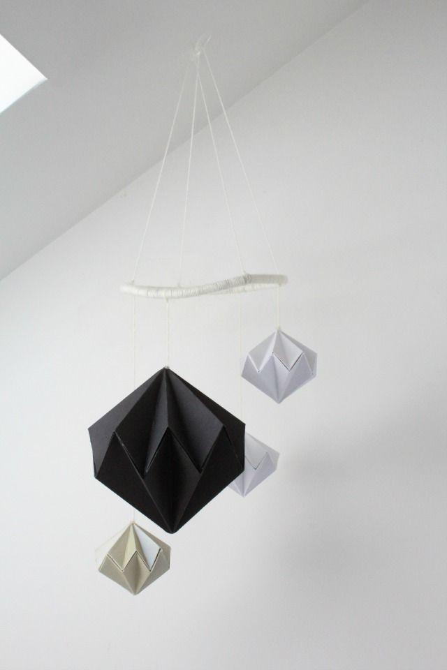 DIY Geometric Paper Diamond Modern Baby Mobile Tutorial - SylvieLiv. origami, diy, paper art