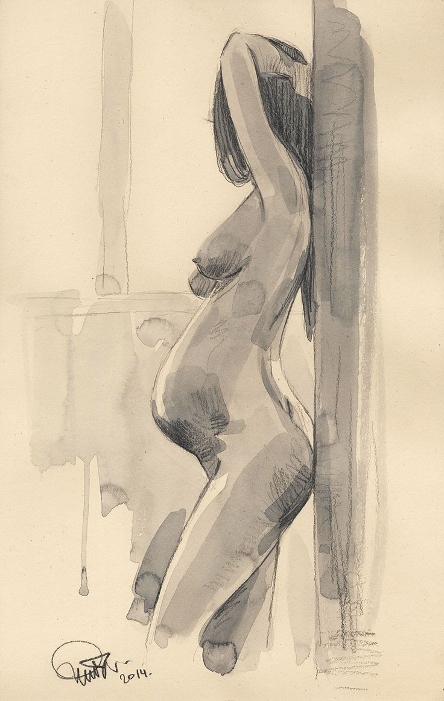 Моя беременная жена 2014 (бумага, карандаш, акварель, 45,2х27,5)