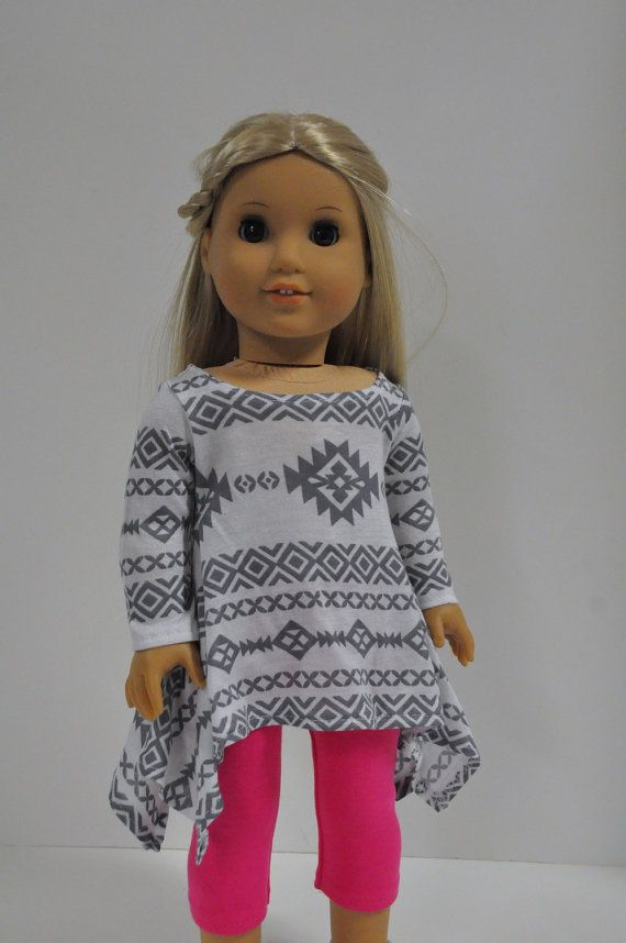 Gray and White Aztec Tribal Print Ethnic Print by CircleCSewing