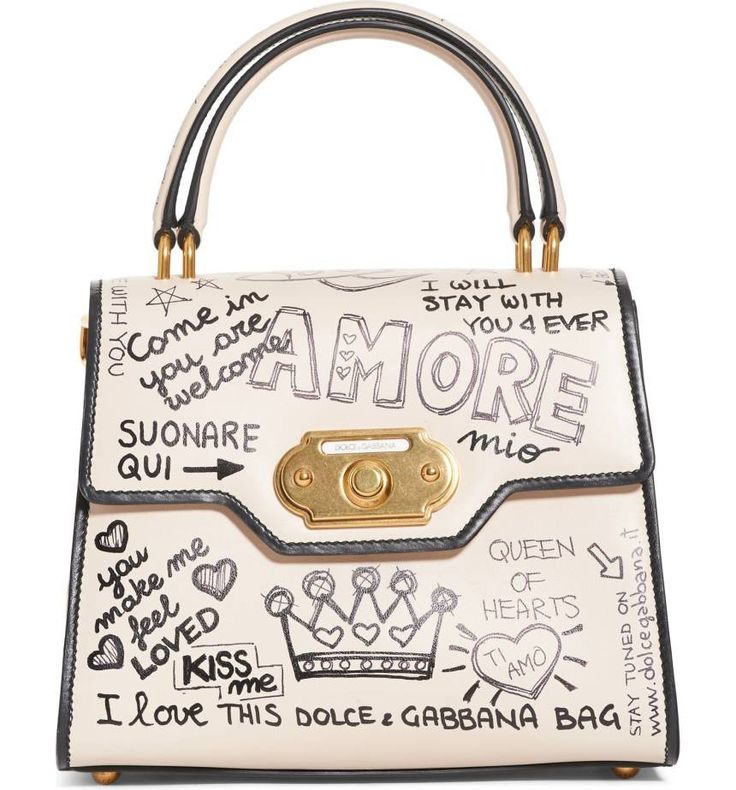 Merging fresh, street-style influences with vintage-inspired detailing, this spirited satchel features a classic silhouette marked up with messages of love.