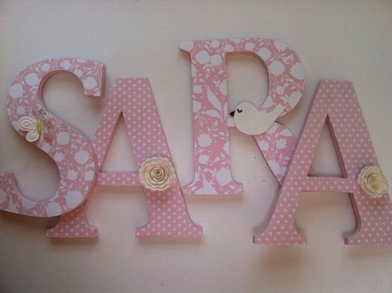 Alphabet wooden letters for nursery in pink, and white spelling out your child's name letters stand up initial monogram on Etsy, $13.76 CAD