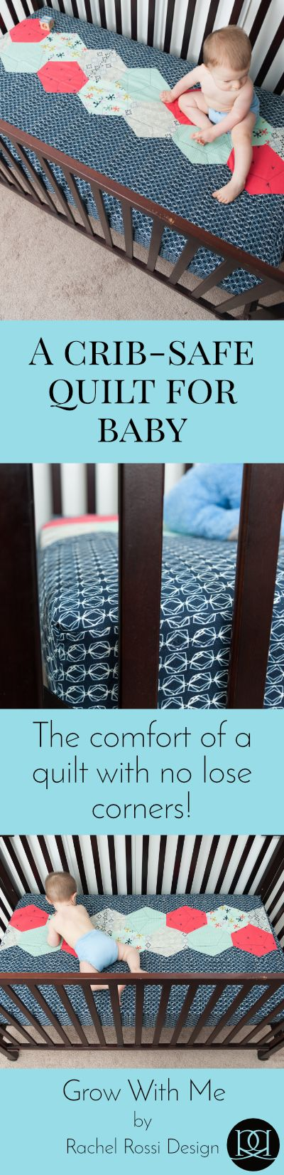 The Grow With Me Quilt is a great quilt pattern for baby showers and expectant mothers! Now you can give baby the comfort of a quilt with no lose corners.   Rachel Rossi Design