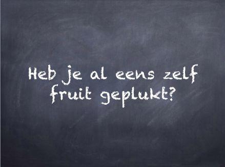 Filosoferen: filosofeerkaartje 'Heb je zelf al eens fruit geplukt?'
