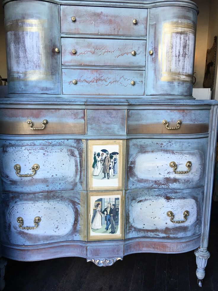 A hand painted dresser - french country dresser - hand painted with custom blended paints in blues gold and wall art to transform this antique armoire - chalk paint, milk paint , custom blended paint. French country side.