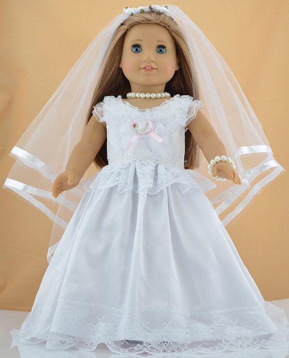 Elegant  u u American Girl Doll Clothes White Victorian Wedding Dress Outfit for u