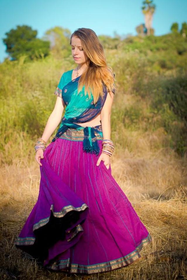 Cotton bridesmaids skirts- with dark blue http://gopiskirts.com/   Gopi skirts by Radhika- facebookn
