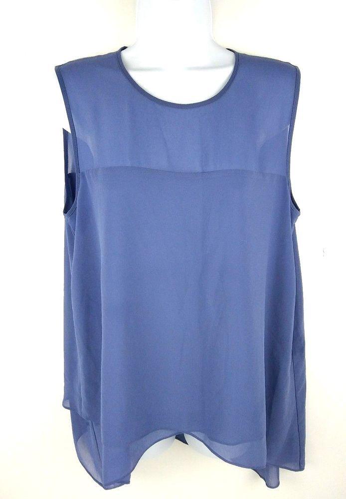 684883f05ce21 Anne Klein Womens Blouse size 8 Periwinkle Blue High Low Asymmetrical Top   AnneKlein  Blouse