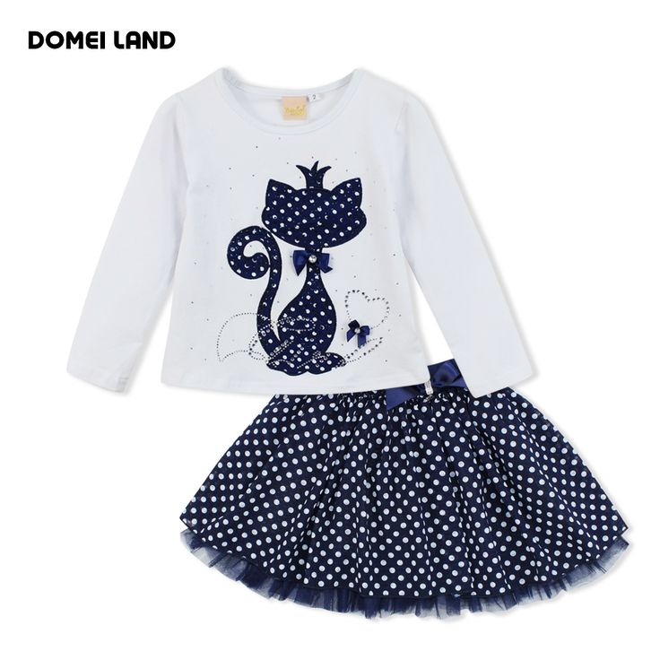 2016 Fashion winter DOMEI LAND Boutique Outfits Baby clothes Girls Sets Cute cat Print Long Sleeve Tops Bow Tutu Skirts suits #>=#>=#>=#>=#> Click on the pin to check out discount price, color, size, shipping, etc. Save and like it!