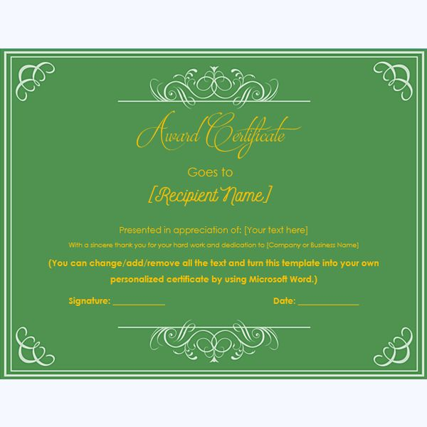 99 best Award Certificate Templates images on Pinterest - microsoft award templates