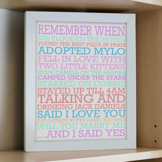 Remember When Personalised Print perfect for Mother's Day