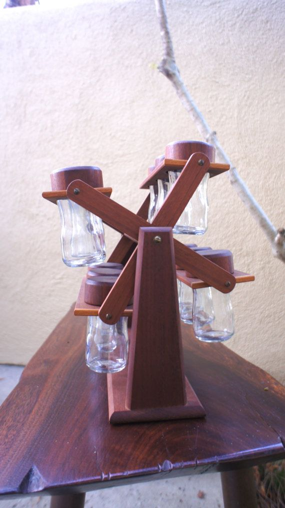 Unique Vintage Wooden Mid Century Modern Carousel Spice Rack [you spin me right round]