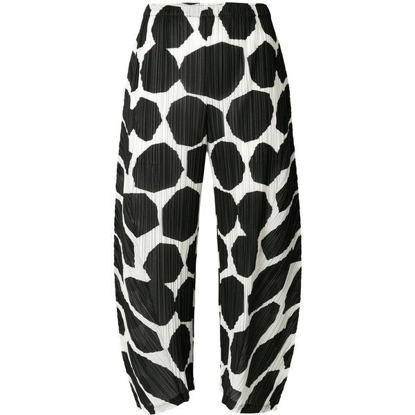 Pleats Please Issey Miyake Printed Trousers (€280) ❤ liked on Polyvore featuring pants, capris, white, cropped pants, cropped capri pants, white cropped trousers, pleats please by issey miyake and white polka dot pants